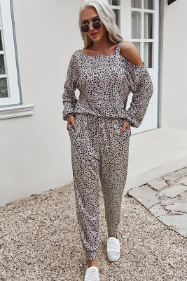 Apricot Printed Off Shoulder Long Sleeve Two Piece Pants Set
