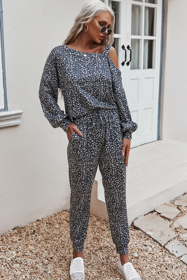 Navy Printed Off Shoulder Long Sleeve Two Piece Pants Set