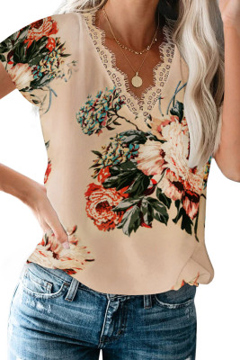Apricot Floral Scalloped V Neck Short Sleeves Top