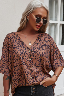Brown V-Neck Short Sleeve Shirt