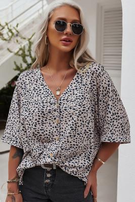 Apricot V-Neck Short Sleeve Shirt