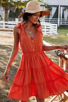Orange V-neck Sleeveless Midi Dress