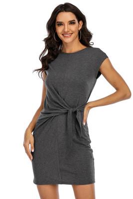 Gray Round Neck Short Sleeve Bandage Dress
