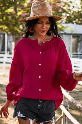 Red Round Collar Long Sleeve Shirt