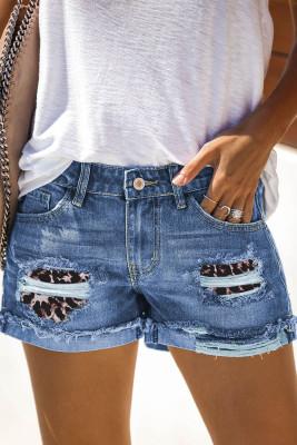 Leopard Patchwork Rolled Hem Denim Shorts