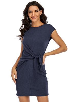 Navy Round Neck Short Sleeve Bandage Dress