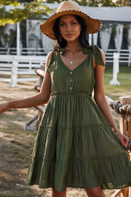 Green V-neck Sleeveless Midi Dress