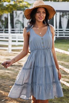 Blue V-neck Sleeveless Midi Dress