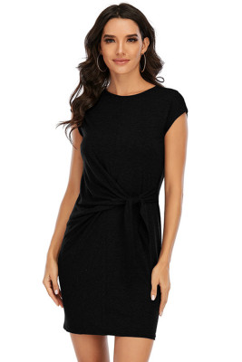 Black Round Neck Short Sleeve Bandage Dress