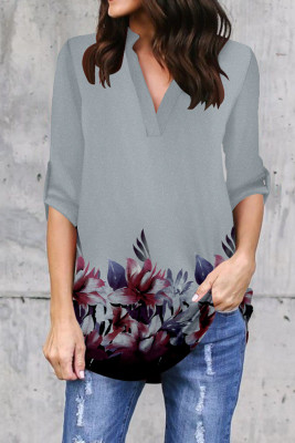 Gray Printed V-Neck Long Sleeve Top