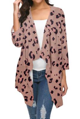 Khaki Leopard Printed Three Quarter Sleeve Cardigan
