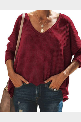 Red V-Neck Batwing Sleeve Knit Top