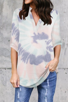 Green Printed V-Neck Long Sleeve Top