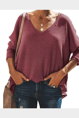Purple V-Neck Batwing Sleeve Knit Top