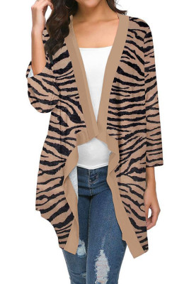 Khaki Striped Printed Three Quarter Sleeve Cardigan