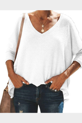 White V-Neck Batwing Sleeve Knit Top