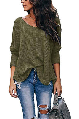 Army Green V-Neck Batwing Sleeve Knit Top