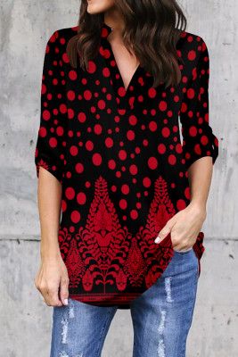 Red Printed V-Neck Long Sleeve Top