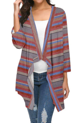 Red Striped Printed Three Quarter Sleeve Cardigan