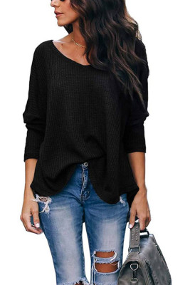 Black V-Neck Batwing Sleeve Knit Top