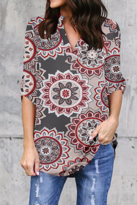 Brown Printed V-Neck Long Sleeve Top