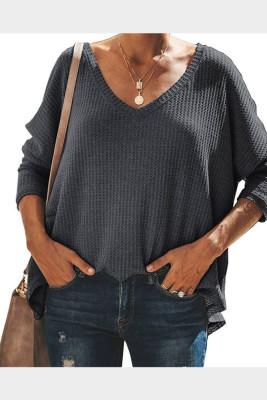Gray V-Neck Batwing Sleeve Knit Top
