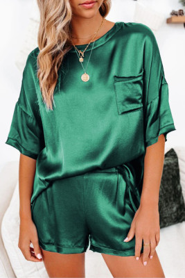 Dark Green Short Length Two Piece Lounge Wear