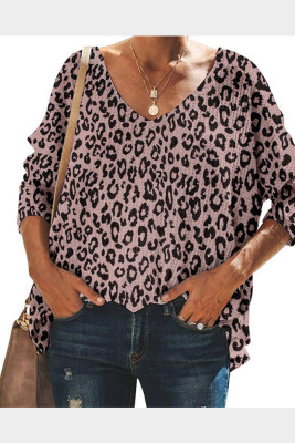 Khaki Leopard Printed V-Neck Batwing Sleeve Knit Top