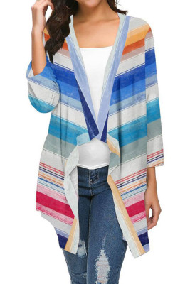 Multi-colored Striped Printed Three Quarter Sleeve Cardigan