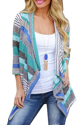 Green Striped Printed Three Quarter Sleeve Cardigan