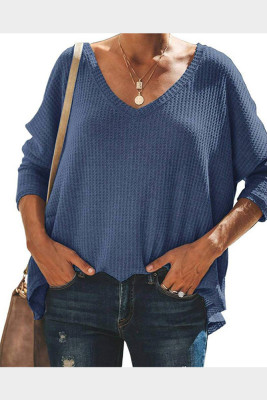 Blue V-Neck Batwing Sleeve Knit Top