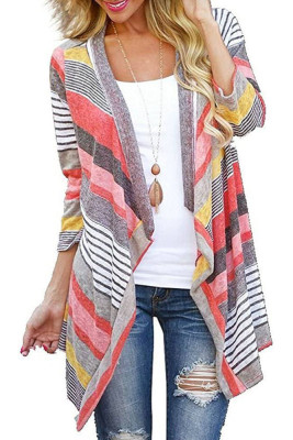 Gray Striped Printed Three Quarter Sleeve Cardigan