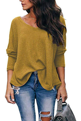Yellow V-Neck Batwing Sleeve Knit Top