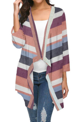 Wine Red Striped Printed Three Quarter Sleeve Cardigan
