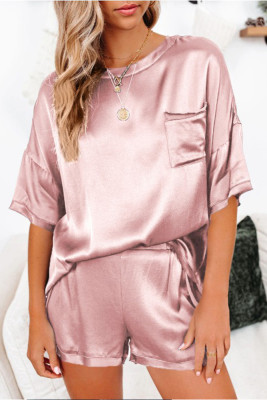 Pink Short Length Two Piece Lounge Wear