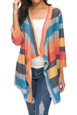 Orange Striped Printed Three Quarter Sleeve Cardigan