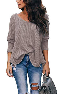 Khaki V-Neck Batwing Sleeve Knit Top