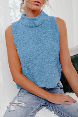 Blue Knit Sleeveless Crop Top