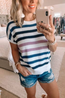 Blue Striped O-Neck Short Sleeve Knit Top