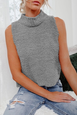 Gray Knit Sleeveless Crop Top