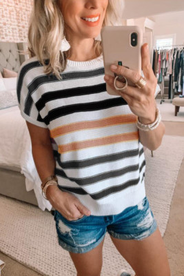 Black Striped O-Neck Short Sleeve Knit Top