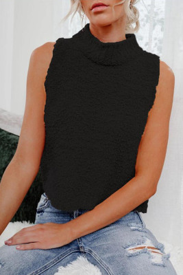 Black Knit Sleeveless Crop Top