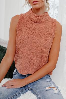 Orange Knit Sleeveless Crop Top