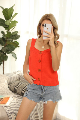 Orange Round Collar Knit Vest Tank Top