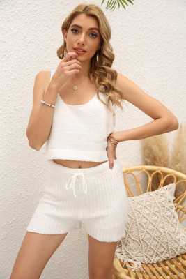 White Sleeveless Crop Top Shorts Loungewear Pajamas Set