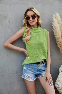 Green Knit Sleeveless Crop Top