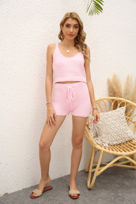Pink Sleeveless Crop Top Shorts Loungewear Pajamas Set