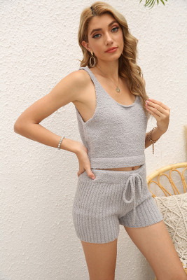 Copy Kahki Sleeveless Crop Top Shorts Loungewear Pajamas Set