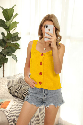Yellow Round Collar Knit Vest Tank Top