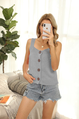 Gray Round Collar Knit Vest Tank Top
